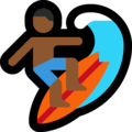 Man Surfing: Medium-Dark Skin Tone on Microsoft Windows 10 April 2018 Update