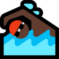 Man Swimming: Dark Skin Tone on Microsoft Windows 10 April 2018 Update