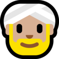Man Wearing Turban: Medium-Light Skin Tone on Microsoft Windows 10 April 2018 Update