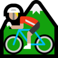Person Mountain Biking: Medium-Light Skin Tone on Microsoft Windows 10 April 2018 Update