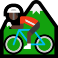 Person Mountain Biking: Dark Skin Tone on Microsoft Windows 10 April 2018 Update