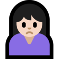 Person Frowning: Light Skin Tone on Microsoft Windows 10 April 2018 Update