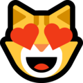 Smiling Cat Face With Heart-Eyes on Microsoft Windows 10 April 2018 Update