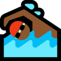 Person Swimming: Medium-Dark Skin Tone on Microsoft Windows 10 April 2018 Update