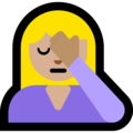 Woman Facepalming: Medium-Light Skin Tone on Microsoft Windows 10 April 2018 Update