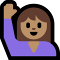 Woman Raising Hand: Medium Skin Tone on Microsoft Windows 10 April 2018 Update