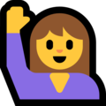 Woman Raising Hand on Microsoft Windows 10 April 2018 Update