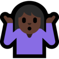 Woman Shrugging: Dark Skin Tone on Microsoft Windows 10 April 2018 Update