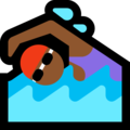 Woman Swimming: Medium-Dark Skin Tone on Microsoft Windows 10 April 2018 Update