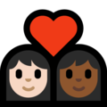 Couple With Heart - Woman: Light Skin Tone, Woman: Medium-Dark Skin Tone on Microsoft Windows 10 Creators Update