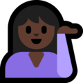 Person Tipping Hand: Dark Skin Tone on Microsoft Windows 10 Creators Update