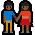 Man and Woman Holding Hands, Type-5 on Microsoft Windows 10 Creators Update