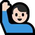 Man Raising Hand: Light Skin Tone on Microsoft Windows 10 Creators Update