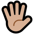 Raised Hand With Fingers Splayed: Medium-Light Skin Tone on Microsoft Windows 10 Creators Update