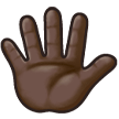 Raised Hand With Fingers Splayed: Dark Skin Tone on Samsung Galaxy S8 (April 2017)