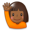 Woman Raising Hand: Medium-Dark Skin Tone on Samsung Galaxy S8 (April 2017)