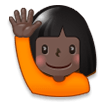 Woman Raising Hand: Dark Skin Tone on Samsung Galaxy S8 (April 2017)