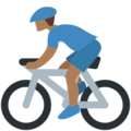 Person Biking: Medium-Dark Skin Tone on Twitter Twemoji 2.3