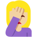 Person Facepalming: Medium-Light Skin Tone on Twitter Twemoji 2.3