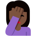 Person Facepalming: Dark Skin Tone on Twitter Twemoji 2.3