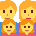 Family: Man, Woman, Girl, Girl on Twitter Twemoji 2.3