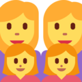 Family: Woman, Woman, Girl, Girl on Twitter Twemoji 2.3