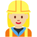Woman Construction Worker: Medium-Light Skin Tone on Twitter Twemoji 2.3