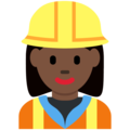 Woman Construction Worker: Dark Skin Tone on Twitter Twemoji 2.3