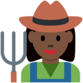 Woman Farmer: Dark Skin Tone on Twitter Twemoji 2.3