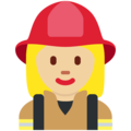 Woman Firefighter: Medium-Light Skin Tone on Twitter Twemoji 2.3