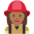 Woman Firefighter: Medium-Dark Skin Tone on Twitter Twemoji 2.3