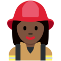 Woman Firefighter: Dark Skin Tone on Twitter Twemoji 2.3