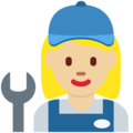 Woman Mechanic: Medium-Light Skin Tone on Twitter Twemoji 2.3