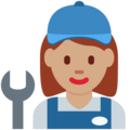 Woman Mechanic: Medium Skin Tone on Twitter Twemoji 2.3