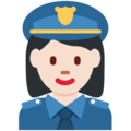 Woman Police Officer: Light Skin Tone on Twitter Twemoji 2.3
