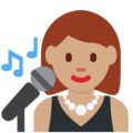 Woman Singer: Medium Skin Tone on Twitter Twemoji 2.3