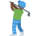 Person Golfing: Dark Skin Tone on Twitter Twemoji 2.3