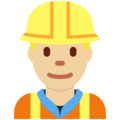 Man Construction Worker: Medium-Light Skin Tone on Twitter Twemoji 2.3