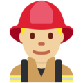 Man Firefighter: Medium-Light Skin Tone on Twitter Twemoji 2.3