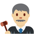 Man Judge: Medium-Light Skin Tone on Twitter Twemoji 2.3