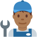 Man Mechanic: Medium-Dark Skin Tone on Twitter Twemoji 2.3