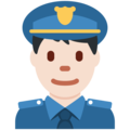 Man Police Officer: Light Skin Tone on Twitter Twemoji 2.3