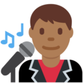 Man Singer: Medium-Dark Skin Tone on Twitter Twemoji 2.3