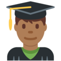 Man Student: Medium-Dark Skin Tone on Twitter Twemoji 2.3