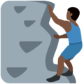Man Climbing: Dark Skin Tone on Twitter Twemoji 2.3