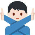 Man Gesturing No: Light Skin Tone on Twitter Twemoji 2.3