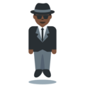 Man in Business Suit Levitating: Dark Skin Tone on Twitter Twemoji 2.3