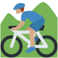 Man Mountain Biking: Medium Skin Tone on Twitter Twemoji 2.3