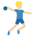 Man Playing Handball: Medium-Light Skin Tone on Twitter Twemoji 2.3