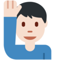 Man Raising Hand: Light Skin Tone on Twitter Twemoji 2.3